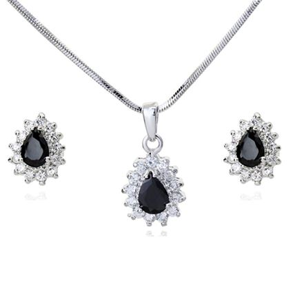 Picture of Crystal Earring Necklace Set - Black Zircon Crystal