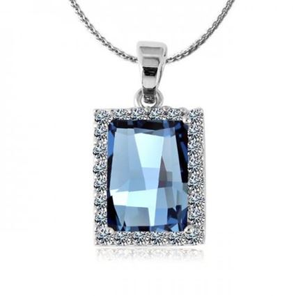 Picture of Square Shaped Crystal Pendant Necklace - Blue Zircon Crystal