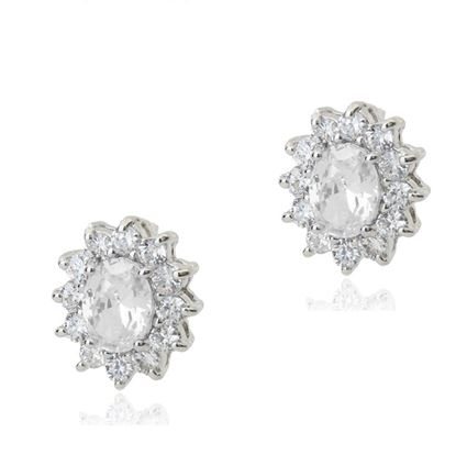 Picture of Stud Earrings - White Zircon Crystal