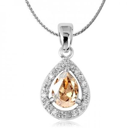 Picture of Teardrop Crystal Pendant Necklace - Yellow Zircon Crystal