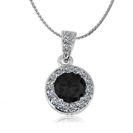 Picture of Zircon Crystal Pendant Necklace - Black Zircon Crystal
